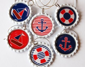 Nautical Wine Charms, Sailing charms, Wine Glass Charms, Wine Charms, Nautical Housewares, nautical, sailing, boat, anchor, red, blue