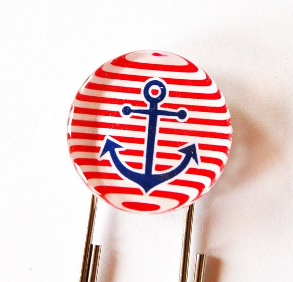 Anchor Bookmark, Glass Bookmark, book mark, Red, Sailing, Anchor, Ahoy, Nautical