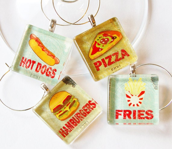 Fast Food, Wine Glass Charms, Wine Charms, Hot Dogs, Pizza, Hamburgers, French Fries, table setting, Barware, entertaining