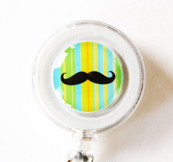 ID Badge Holder, badge reel, Retractable id, Badge clip, Moustache, Green, Blue, gift for him, Fathers Days, gift for dad