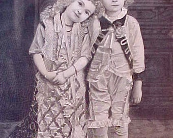 Darling 1860's Engraving of Little Children Dressed in Costume