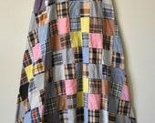 1970's India Madras Patchwork Maxi Skirt