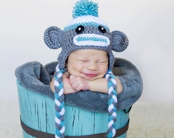 Sock Monkey Hat Photography Prop Hat for Newborn Boys or Newborn Girls, Sock Monkey, Gray Sock Monkey, Sock Monkey Hat, Baby Sock Monkey Hat