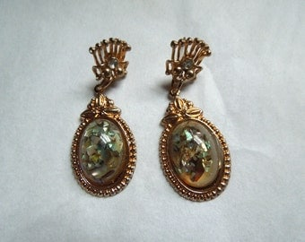 Gold Tone Long Dangle Earrings with Confetti Abalone Stones Fancy made for Pierced Ears No.1676