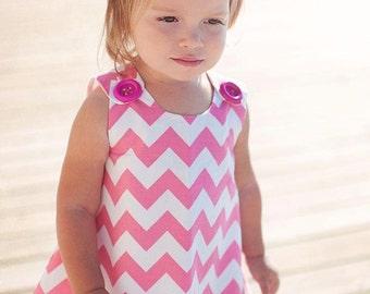 Pink Chevron - Toddler Dress - Pink - Modern Children - Birthday Party - Aline Pattern - Custom Handmade - KK Children Designs - 3M to 4T