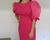 Vintage 80's hot pink fuschia cocktail wiggle dress