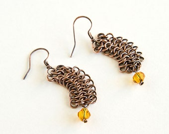 Copper Chainmaille Earrings Topaz Crystals European 4 in 1 Chain Mail Maille Antiqued Copper Earrings