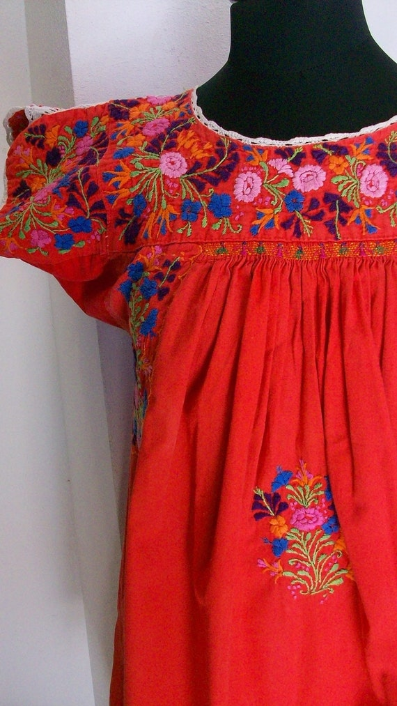 Vintage Mexican Oaxacan  hand embroidered orange dress with little people AUTHENTIC 1970