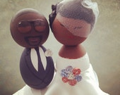Custom African American Wedding Cake Topper - Every topper is made custom for you