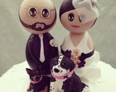 Reserved Listing - Custom Hand Painted Wooden Wedding Cake Topper with Pets