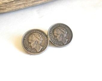 Vintage coin brooch, Wilhelmina Koningin der Nederlanden solid silver brooch or pin, ca.1944
