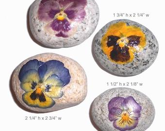 Gratitude Rocks ,Paper Weights or Decorative Pressed Pansies on Beach Rocks 4 each