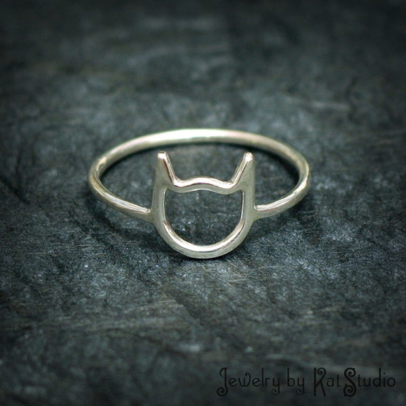 Cat Ring - handmade - Sterling Silver 925 - Bague silhouette tête de chat - Jewelry by Katstudio
