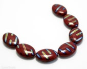 Dark Red Vitrail Peacock Rainbow Czech Beads 20mm (8) Opaque Flat Oval Pressed Glass Metallic Striped last
