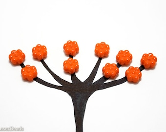 Bright Orange Czech Flower Beads 8mm (30) Opaque Flat Pressed Glass Bouquet Spring last