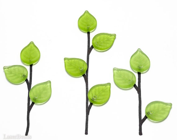 Green Leaf Beads, Frosted Czech Glass 17mm (16) Tender Shoots last