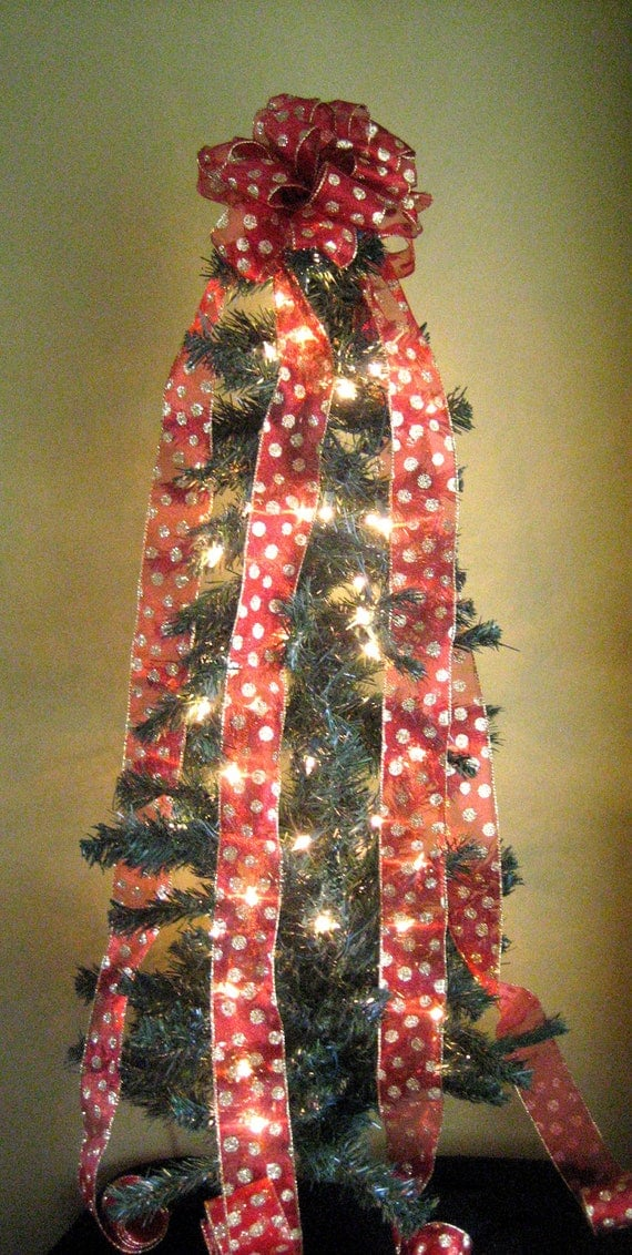 christmas tree topper red gold tree bow topper bow tree. Black Bedroom Furniture Sets. Home Design Ideas