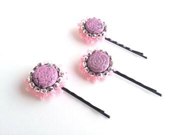 set of 3, bobby pins, pink, hair accessories, girl accessories, hairstyle, boho hair, bohemian, flowers, hair clips, hair pins, bridal