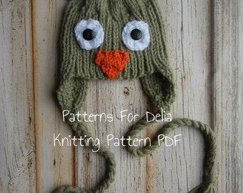 Owl Hat Knitting Pattern newborn baby toddler child animal earflap photography prop