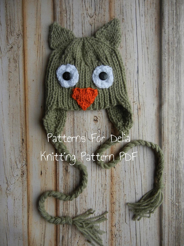 Knitting Pattern Owl Beanie : Owl Hat Knitting Pattern newborn baby toddler child animal