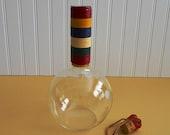 Mid-Century Italian Design Wine Carafe/ Vintage Barware/ Raffia Bottle/ Vintage Entertaining/ Boho