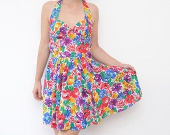 Vintage floral open back bright summer mini dress 90s corset top grunge