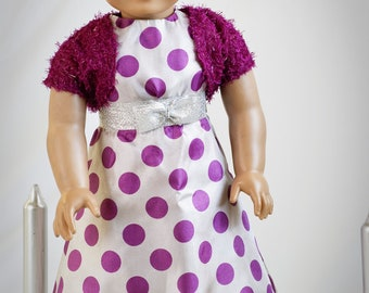 "Doll Clothes Girl American 18"" Gray and Purple Polka Dot Fancy Dress with Purple Textured Shrug"