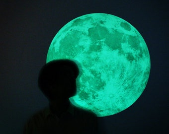L-size Moonlight night-light wall-sticker, CLAIR DE LUNE (glow in the dark moon wall-sticker-50cm/19.6inch)