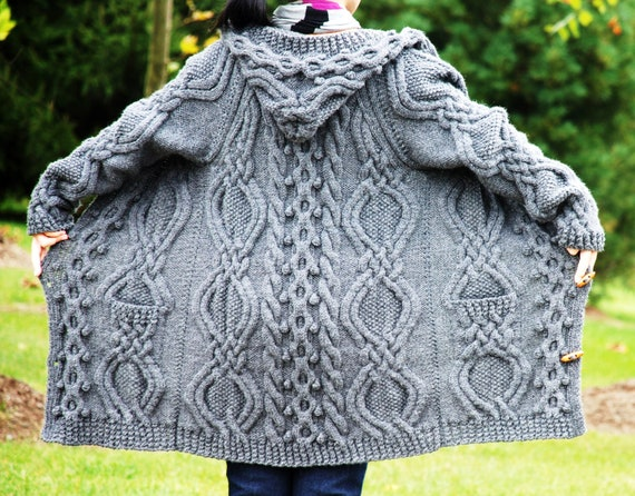 Knitting Patterns Irish Fisherman Sweaters : Hand Knit Women Chunky Cable Aran Irish Fisherman Sweater Coat