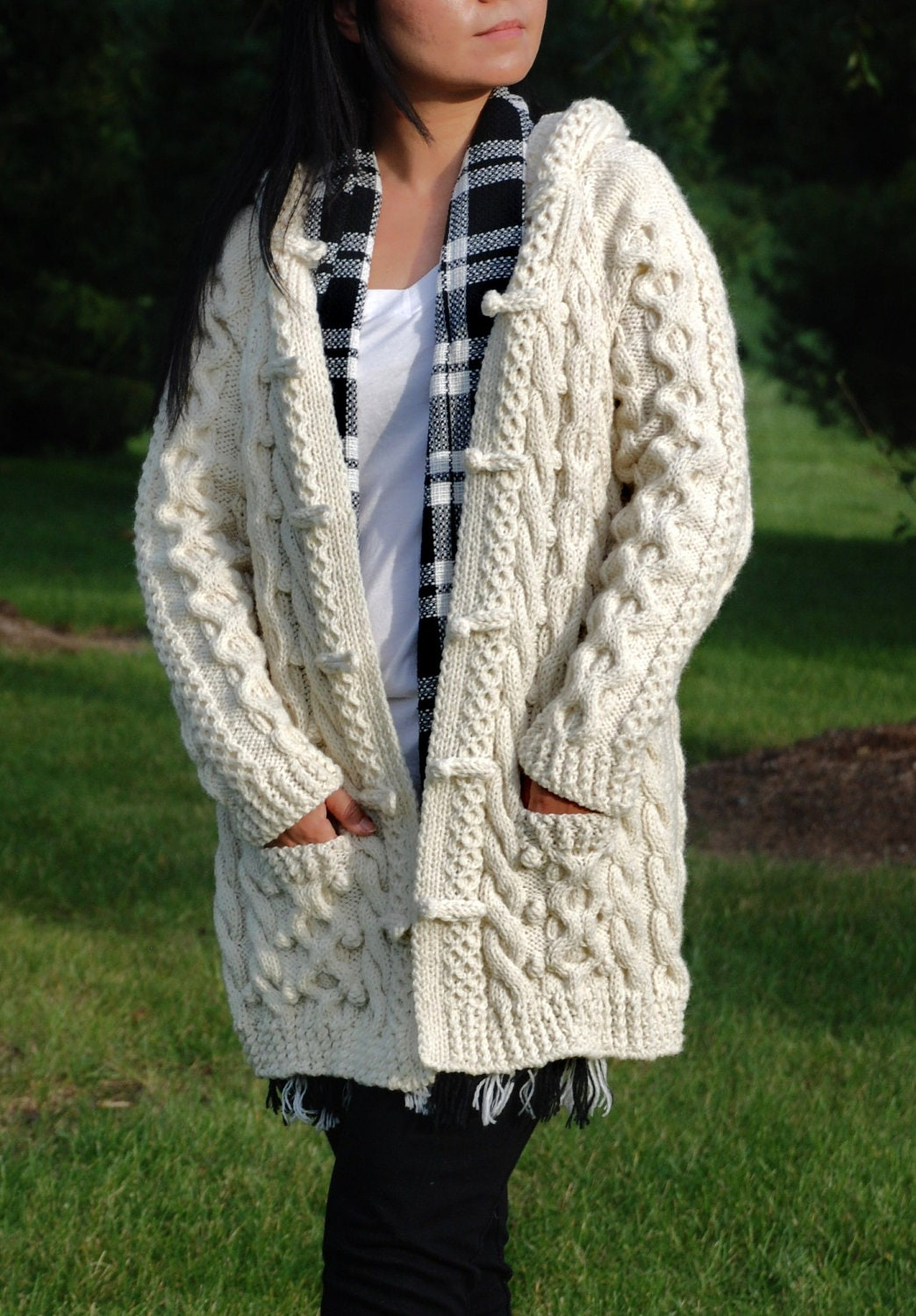 Ladies Aran Cardigan With Hood Knitting Pattern : Hand Knit Women Chunky Cable Aran Irish Fisherman Sweater Coat