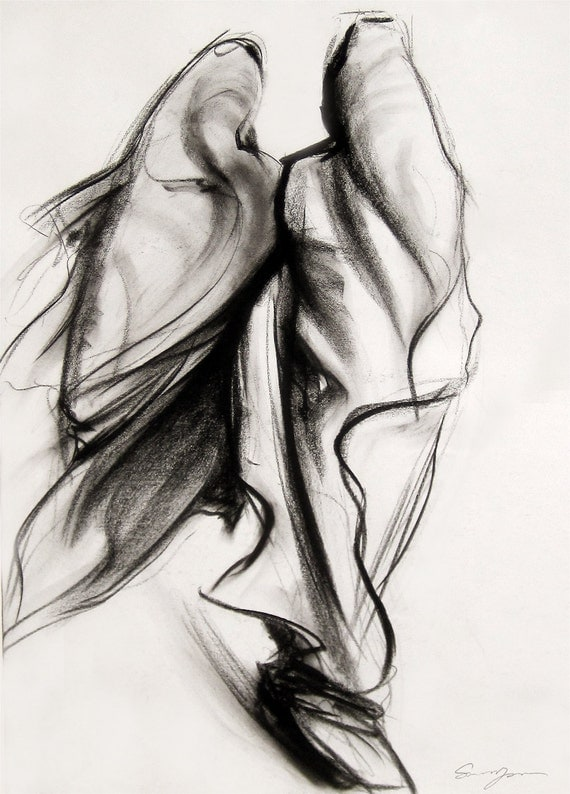 "Giclee Print. Contemporary Style Charcoal Drawing. Reproduction--Two Women, 8""x10"""