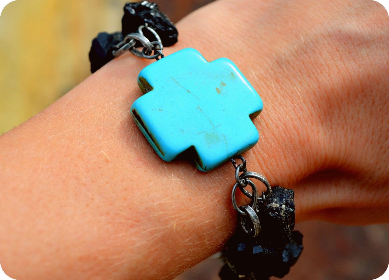 ooak turquoise tribal cross amp black by wingostarrjewelry