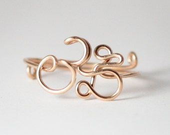 AUM Ring - OM Ring - Feel Calm. Yoga, Symbol, Ring, Meditation, Yoga Jewellery, 14K Gold Filled Wire