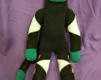 Green and black sock monkey, one of a kind,handmade