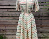 1980s // Rainbow Chevron Striped Dress // Large