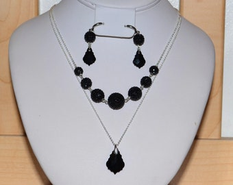 Baroque Swarovski Crystal and Pave Crystal Disco Balls Two Strand Necklace and Earrings Set in Jet Black