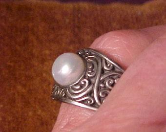 Pearl Ring-Natural Pearl Sterling Renaissance Design