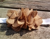 Abby with two tan burlap flower puffs on a white headband....fall...scarecrow....autumn....rustic....birthday
