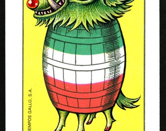 Loteria card Halloween monster print, El Curiosidad 9, El Barril: Weird barrel creature, Altered art, Mixed media art, 9th birthday monster