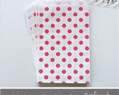 Hot Pink - Polka Dot - Medium Favor Bags - 10