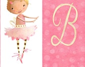 """Personalize Little Girl Ballerina - Initial B can be customized - 11""""x17"""" illustration print for girl's room"""
