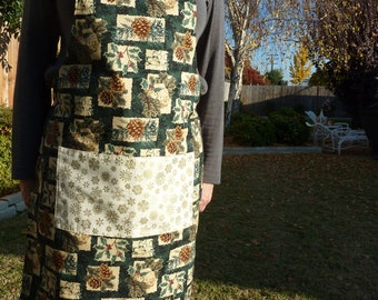 Christmas Holly and Pine Cone Reversing to Snowflake Fabric Apron