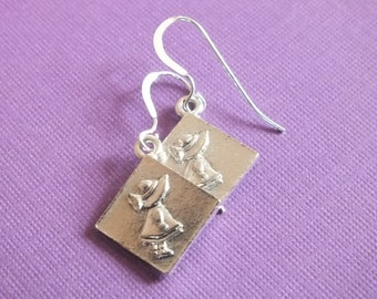 Quilt Jewelry -Sterling Silver Earrings with a knitting, sewing, quilting theme -Sunbonnet Sue