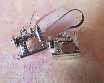 Sewing Machine Earrings -Sterling Silver Earrings with a knitting, sewing, quilting theme