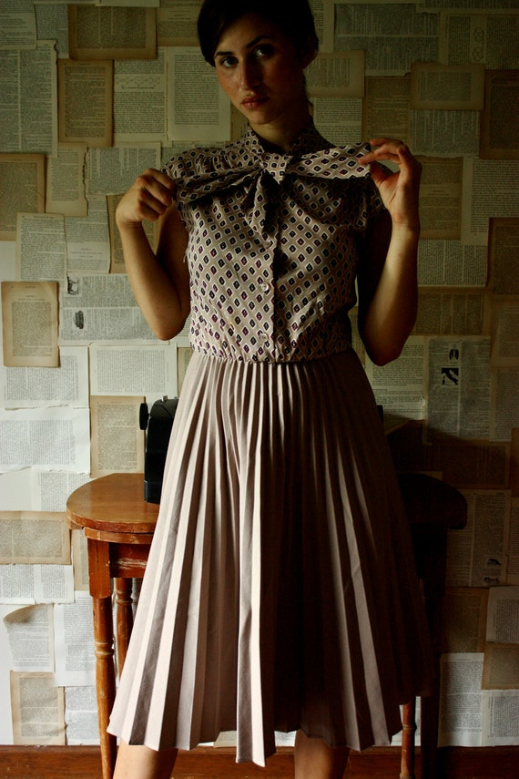 Reserved for Justine - Vintage Diamond Secretary Dress with Pleated Skirt by Franco Verdi