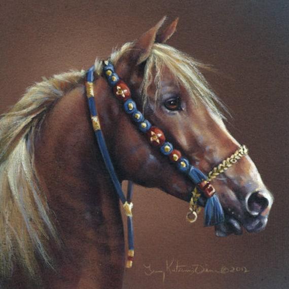 "Original Painting of Arabian Horse Nimr Shabareq. 5""X5"" Image on 9""X9"" 110 Crescent Illustration Board"