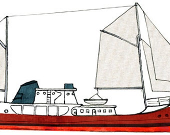 steel trawler Cape Race: ship print / nautical illustration
