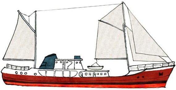 Steel Trawler Cape Race Ship Print Nautical Illustration