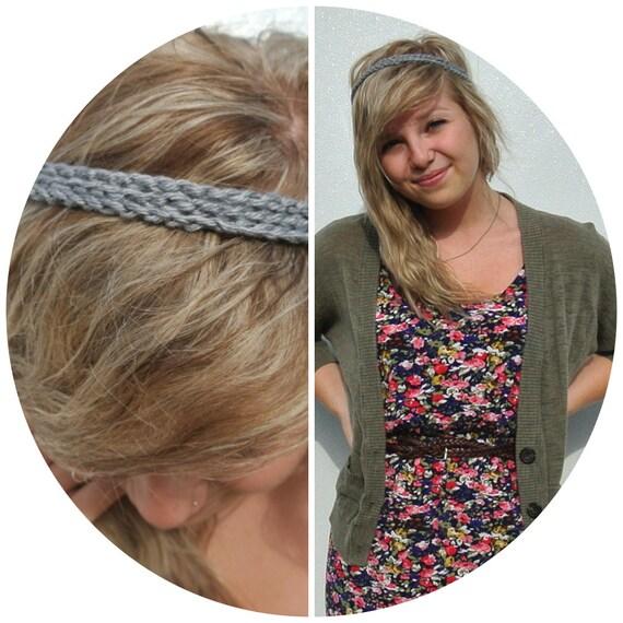 three strand crocheted headband - grey/gray/silver