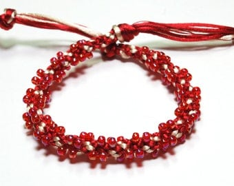 Bracelet Beaded Kumihimo Red & Gold Satin Cord Red Beaded Jewelry